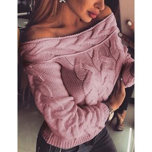 Sweaters - Only 2 left, off the shoulder braided knit sweater